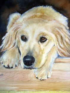 Custom painting of golden retriever /pet painting  /pet portraits/ gift for him on Etsy, $150.00