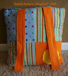 Sun Scholars: Blanket to Backpack Tutorial - Part 1 Quilting Tutorials, Quilting Projects, Quilting Designs, Sewing Projects, Quilting Ideas, Sewing Tutorials, Sewing Ideas, Diy Projects, Brother Embroidery Machine