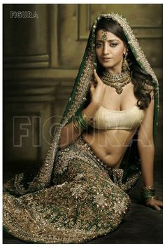 Green lehenga choli with golden and silver embellishment work - Click Image to Close Indian Lehenga, Gold Lehenga, Green Lehenga, Lehenga Choli, Anarkali, Pakistani, Indian Dresses, Indian Outfits, Indiana