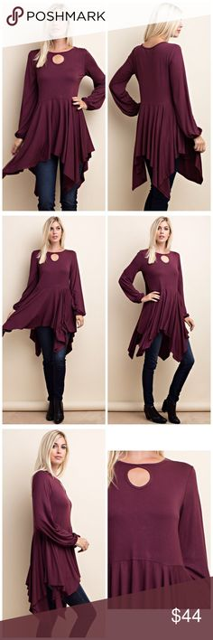 It's Back! Plum shark bite keyhole statement tunic SHARK BITE BOTTOM KEYHOLE DETAIL ON FRONT NECK WITH ELASTIC BANDED SLEEVE BOTTOM LAYERED TUNIC WITH HEAVY RAYON FABRICATION Tops Tunics