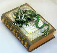 Ooak Polymer Clay  Green and Yellow Dragon Book / by TammyPryce, $45.00