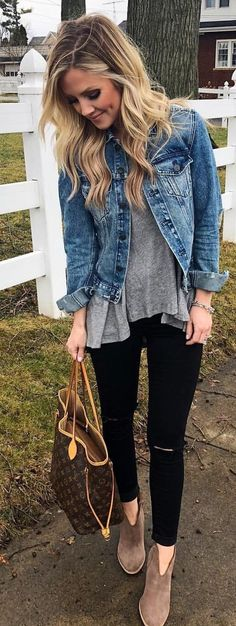 #spring #outfits woman wearing blue denim button-up jacket, black leggings, and pair of brown suede booties outfit. Pic by @thestyledduo