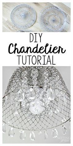 DIY Chandelier: She takes an ordinary mesh basket and turns it into something stunning! How To Make A Chandelier, Diy Chandelier, Chandelier Makeover, Ceiling Fan Makeover, Iron Chandeliers, Diy Arts And Crafts, Diy Crafts, Basket Lighting, Lighting Ideas