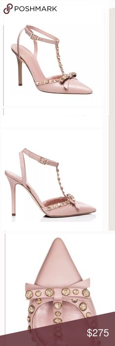 "Kate Spade ♠️ Lydia Studded Heels in Blush Pink New Kate Spade ♠️ Lydia heels have embellished crystals on the T-strap and bow, very feminine and polished!  Hard to find, sold out at Kate Spade, Neiman Marcus, Nordstroms, and elsewhere. Leather upper, pointed toe. Adjustable strap and buckle, 4"" covered heels. Cushioned foot pad. Color is blush pink.  New, never been worn.  No box, tags or dust jacket.  Beautiful shoes!  Sorry, no trades.  Email me with any questions. kate spade Shoes Heels"