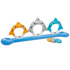 Feed the 3 inflatable shark jaws lined up and score 10 30 and 50 points! 3 disks: orange grey and blue age grade 6+ constructed with durable 10 Gauge vinyl dimensions: 105' x 20' x 36'....