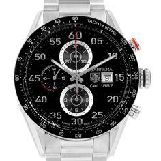 0abbcbaedd5 20491 Tag Heuer Carrera Black Dial Chronograph Mens Watch CAR2A10 SwissWatchExpo  Tag Heuer Monaco, Breitling
