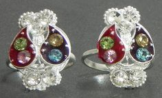 Stone Studded Paisley Design Toe Ring (Stone and Metal)