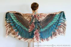 Wings scarf bohemian bird feathers shawl exotic hand by Shovava