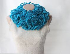 Turquoise knit scarf chunky azure blue winter fashion #PackingSpree