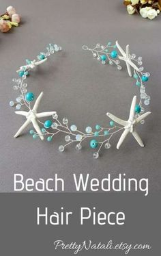 Beach Wedding Hair Piece, Starfish Hair Vine, Seashell headband, Mermaid Headpiece, Beach Bridal Tia - Photo Archive X Beach Wedding Reception, Beach Wedding Decorations, Beach Wedding Favors, Party Wedding, Wedding Venues, Wedding Vows, Blue Beach Wedding, Wedding Ceremonies, Pink Beach Weddings