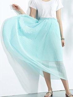 Blue,Elastic Waist,Pleated,Midi Skirt