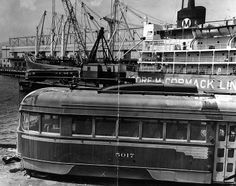 Old Pacific Electric Trolleys waiting to be loaded aboard the Moore-McCormack Lines SS Mormacland ship at Berth 232 on Terminal Island in San Pedro.  they were shipped to Buenos Aires for use in their streetcar system. Photo by Grant MacDonald, L.A. Times Web:  http://www.framework.latimes.com