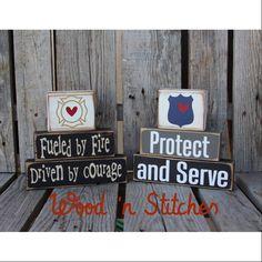 Firefighter Fireman police policeman wood block by jodyaleavitt 2x4 Crafts, Wood Block Crafts, Wooden Projects, Rustic Crafts, Firefighter Crafts, Firefighter Family, Police Crafts, Fireman Room, Clint Walker