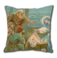 Novel Design Nativity Scene Standard Size Design Square Pillowcase/Cotton Pillowcase with Invisible Zipper in 40*40CM (5267)-52739 $21.88