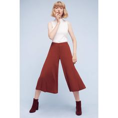 Anthropologie The Essential Culotte ($118) ❤ liked on Polyvore featuring pants, capris, copper, cropped trousers, red pants, wide leg cropped pants, wide leg trousers and red trousers