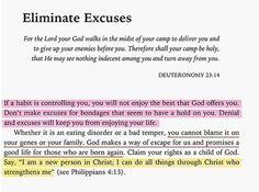 Eliminate Excuses