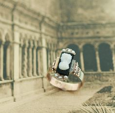 Antique Black Onyx Cameo Ring with Seed Pearls by SITFineJewelry