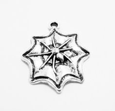 4 Spider Web Charms Spooky Halloween Silver by OverstockBeadSupply, $1.75