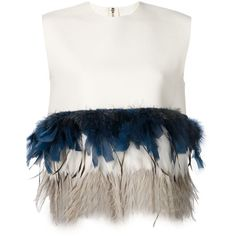 Dsquared2 feather hem top (€1.685) ❤ liked on Polyvore featuring tops, shirts, blouses, crop top, white, shirt crop top, wool shirt, white crop top, sleeveless tops and cut-out crop tops