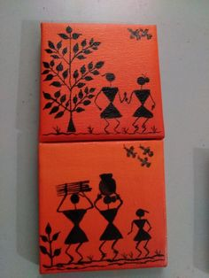 Art therapy activities clay warli paintings on canvas 4 Worli Painting, Art Painting Gallery, Pottery Painting, Fabric Painting, Madhubani Art, Madhubani Painting, Simple Canvas Paintings, Canvas Art, Clay Wall Art