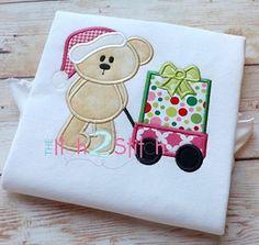 Christmas Bear Wagon Present Applique