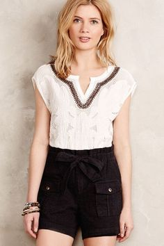 Embroidered Lace Tee - anthropologie.com