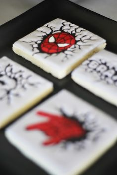 Spiderman cookies from an Iron Man + Hulk & Spiderman Superhero Birthday Party on Kara's Party Ideas | KarasPartyIdeas.com (51)
