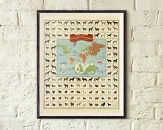 Dogs of the World Vintage Map Print Dog Lover Gift by MapShirts