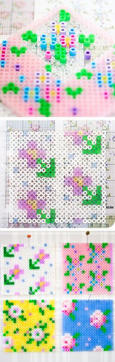 Floral cross stitch using perler beads - cute craft idea for kids