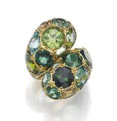 Tourmaline, topaz and diamond ring, 'Ying & Yang', Suzanne Belperron, 1970-1974