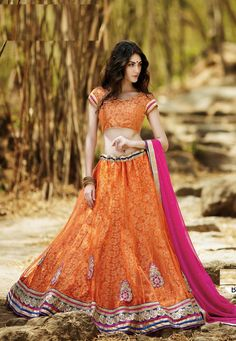 "#Net #Orange #Semi #Stitch #Lehenga with #Choli And #Dupatta.  ""Net Orange flared Semi Stitch lehenga designed with Resham Embroidery And Lace Work With Butta Work.  INR:1,482.00  With Exclusive Discounts  Grab:http://tinyurl.com/zod9487"