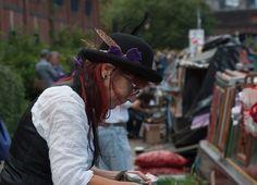 Sue from the Herb Boat  At the 1st Birmingham Floating Market last September right in the centre of Brum..