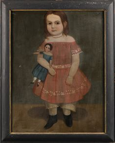American school century portrait of a young girl wearing a red dress and holding a doll c 1840 unsigned oil on canvas 32 12 x 25 12 in in a p Primitive Painting, Primitive Folk Art, Primitive Pictures, American Art, Early American, Doll Painting, Naive Art, Painting Inspiration, Art Gallery