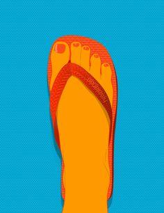Adhemas Batista - Havaianas 2 Happy Shoes, Illustrators, Colours, Orange, Cool Stuff, Classic, Design, Fashion, Pallets