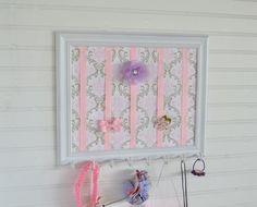 White Frame Taupe Pink Damask Fabric Hair Bow Holder Headband Holder. $40.00, via Etsy.