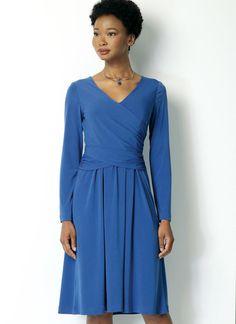 B6411 - stretch surplice dress