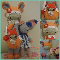 KIRA the kangaroo made by Cecilia / crochet pattern by lalylala Crochet Teddy, Easter Crochet, Knit Crochet, Amigurumi Doll, Amigurumi Patterns, Doll Patterns, Crochet Doll Pattern, Crochet Dolls, Crochet Patterns