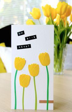 Tulppaanikortti / Tulip Greeting Card Spring Crafts For Kids, Kids Crafts, Games For Kids, Kid Games, Tulips, Greeting Cards, Holiday, Handmade, Card Ideas