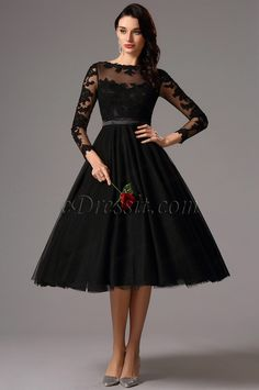 Black tea-length lace cocktail dress party gown with long sleeves