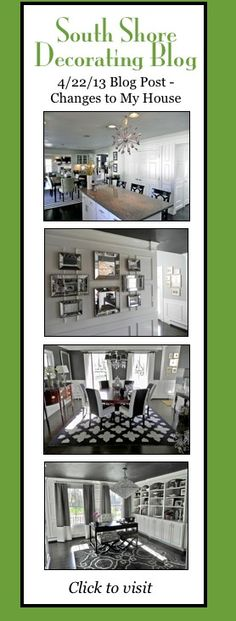New Post- Changes to My House #design #decorating #gray black and white and gray office, black ceiling, crystal chandelier, wall of mirrors, white kitchen, Sputnik chandelier, black dining room, black wall Jonathan Adler rug