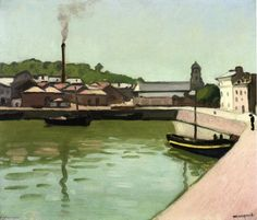 'Honfleur, le port', huile sur toile de Albert Marquet (1875-1947, France)
