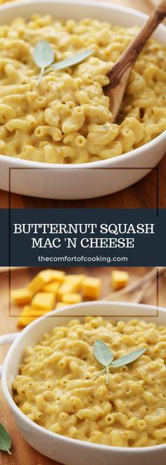 Butternut Squash Mac and Cheese Moschus-Kürbis Macaroni-Käse-Pfanne Veggie Recipes, Baby Food Recipes, Fall Recipes, Vegetarian Recipes, Cooking Recipes, Healthy Recipes, Recipes Dinner, Pasta Recipes, Al Dente