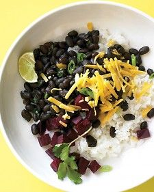 Simmering the dried black beans with the beets infuses them with flavor and color.