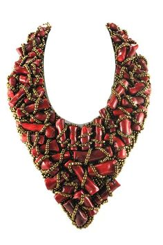 Bamboo Red Statement Necklace