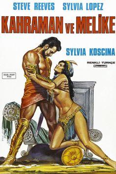 Hercules Unchained (1959) starring Steve Reeves, Sylvia Lopez & Sylva Koscina — Turkish film poster