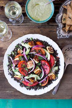 Black Lentil Greek Salad with Grilled Halloumi and Oregano Feta Lemon Pesto - CaliZona