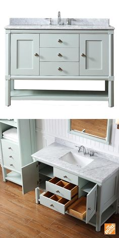 This bathroom vanity features lots of storage and a beautiful marble vanity top. It would look lovely in a farmhouse or cottage style bathroom. It's no wonder this is one of The Home Depot's most-pinned products.