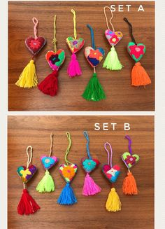 Set of 6 Felted embroidered hearts tassel SMALL charms /