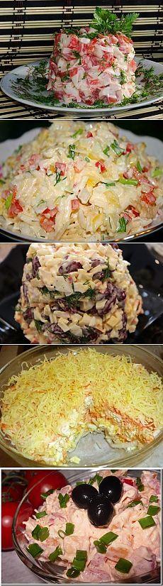 """1. Краб.палочки, помидор, чеснок, сыр... 2. """"Леди"""": кур.филе, огурцы, кон.горошек, укроп... 3. Фасоль крас., яйца, краб. палочки сметана, перец, зелень. 4. Морковь, сыр, колбаса копч., чеснок, кукуруза консерв... 5.  «Французский»:· яблоки, яйца, морковь, лук, сыр... 6. Капуста , огурец , лук, колбаса,  специи... 7.  Кур.грудка копченая, яблоко, ананас конс.,  сыр... 8. Салями, морковь, чеснок, яичные блинчики... 9.  Помидор, бел.сухари, плав.сыр, зелень, чеснок... 1"""