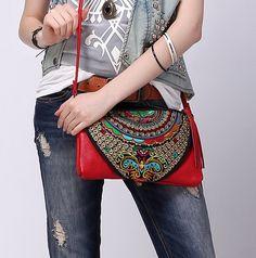 Red boho purse